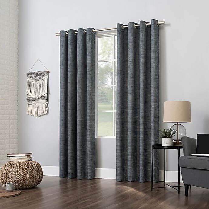Sun Zero Kline Burlap Weave Thermal Blackout Window Curtain Panel
