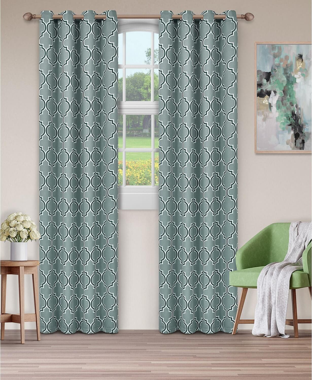 Bohemian Trellis Blackout Thermal Grommet Curtain Panel Pair