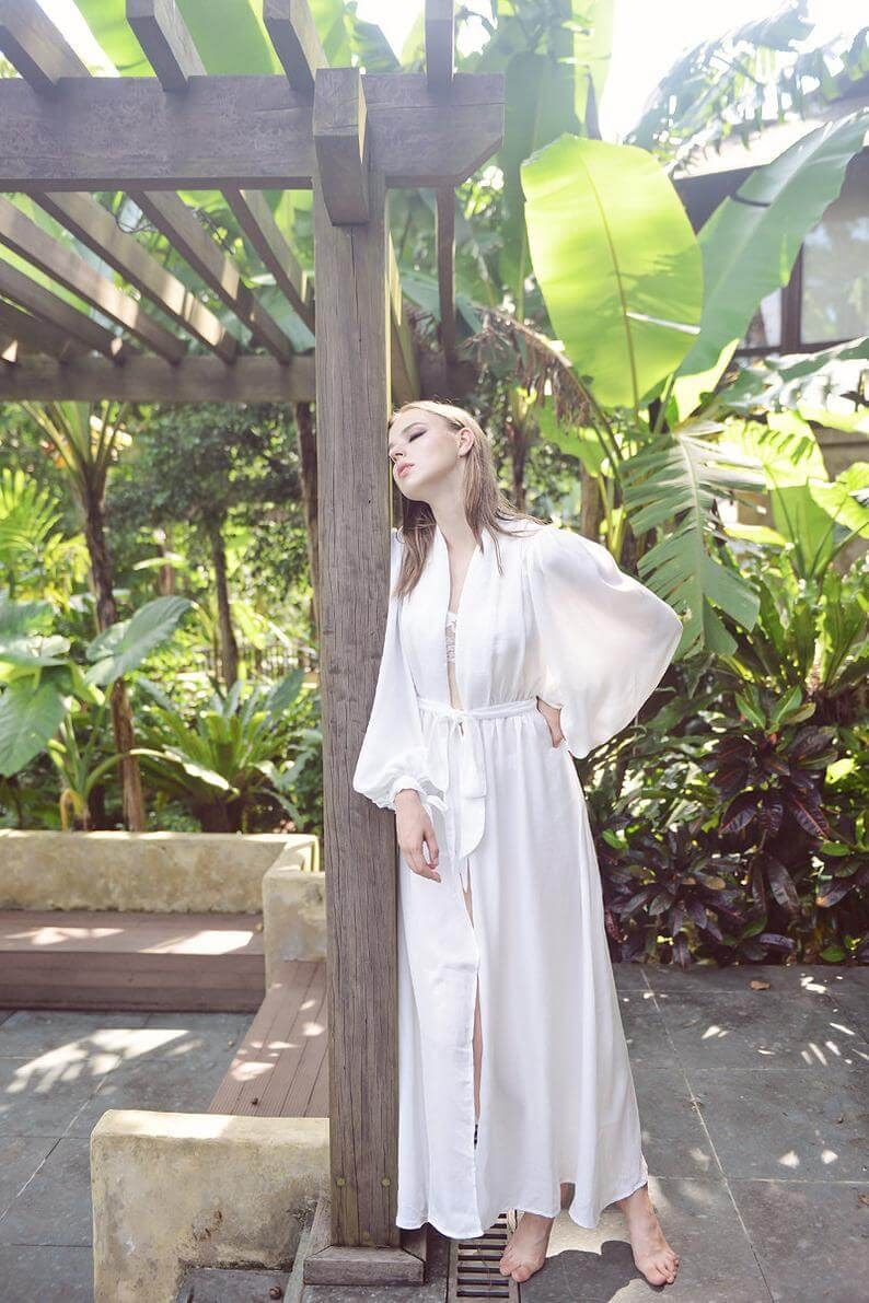 Puff Sleeve Silk Robe