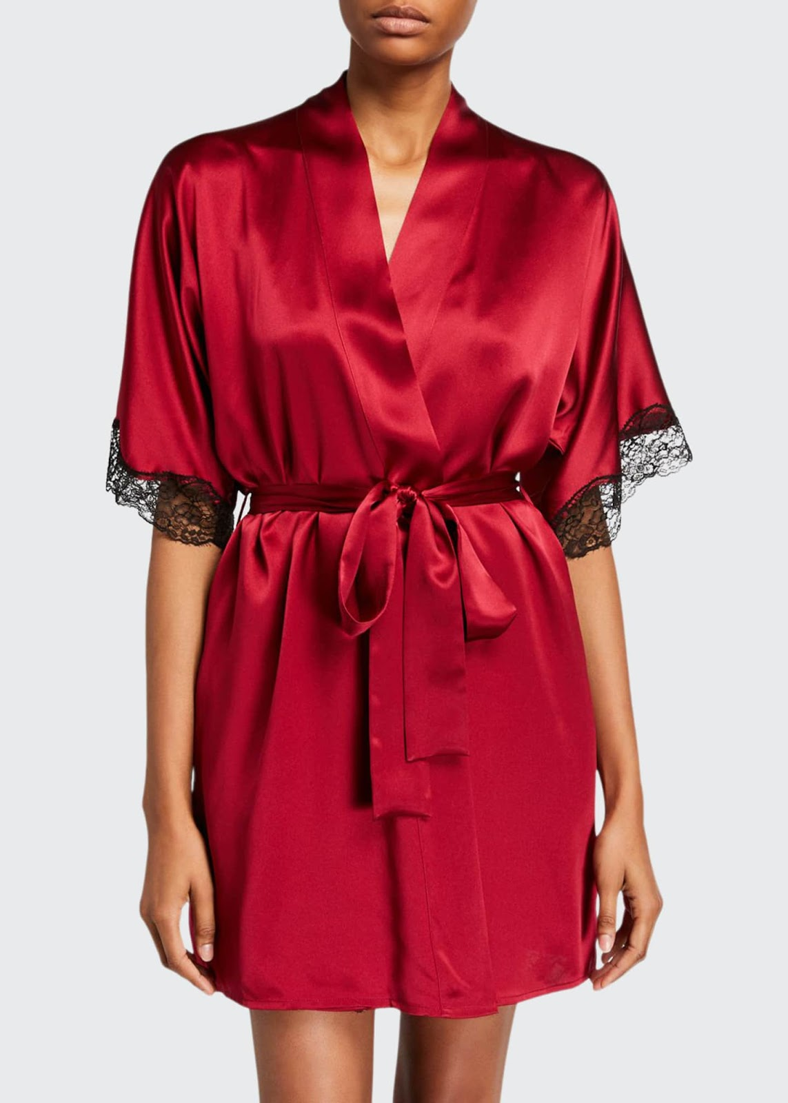 Bijoux Silk Short Robe With Lace