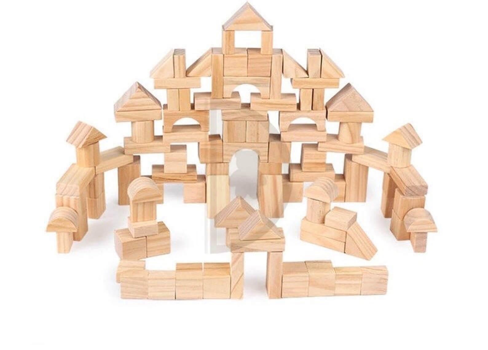 Montessori Natural Wooden Building Blocks Set