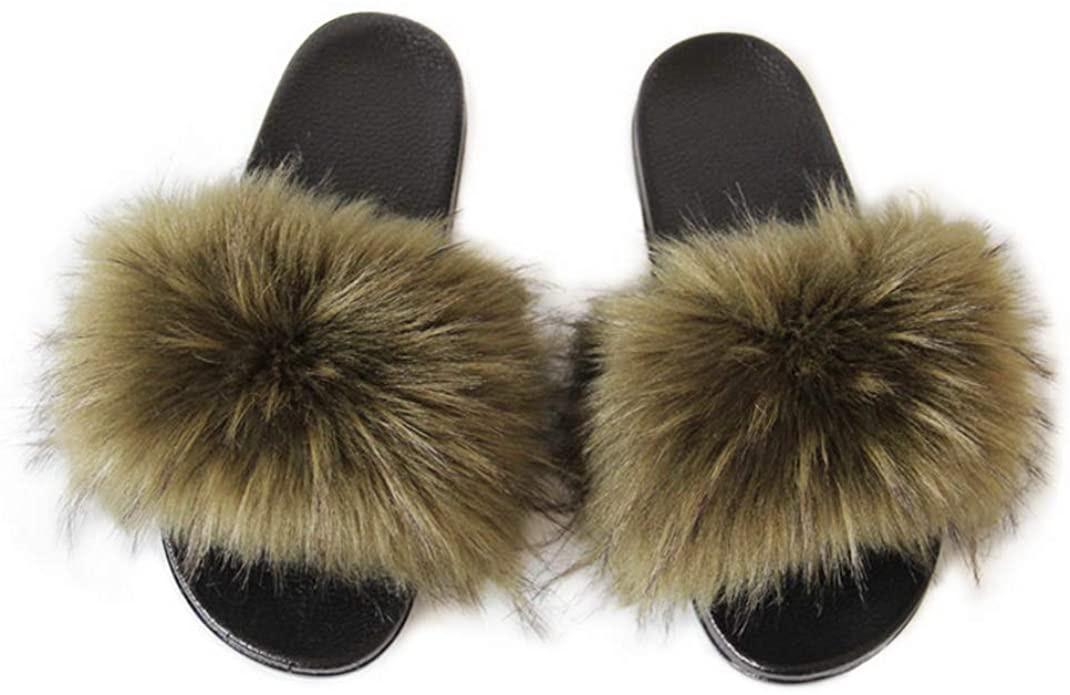 LSWJS Women's Vegan Faux Fur Slippers Fuzzy Slides