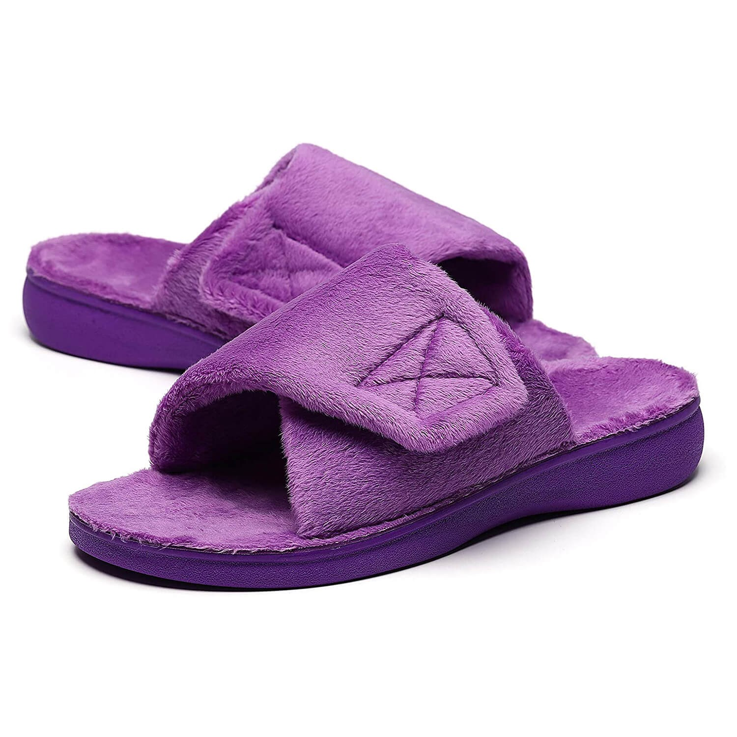 SOLLBEAM Fuzzy House Slippers with Arch Support Orthotic Heel Cup Sandals