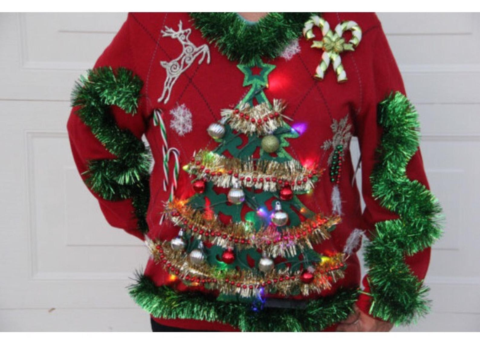 ugly sweater with Christmas tree and ornaments