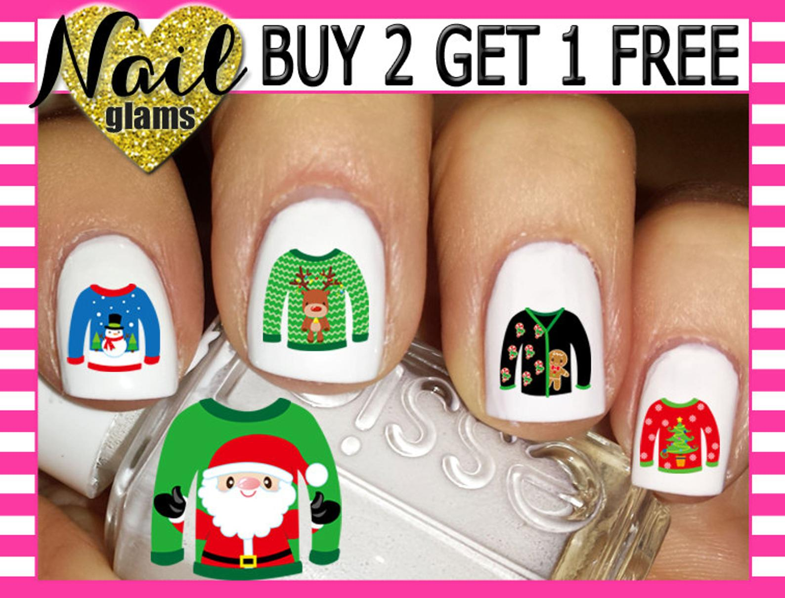 Ugly Sweater Nail Decals
