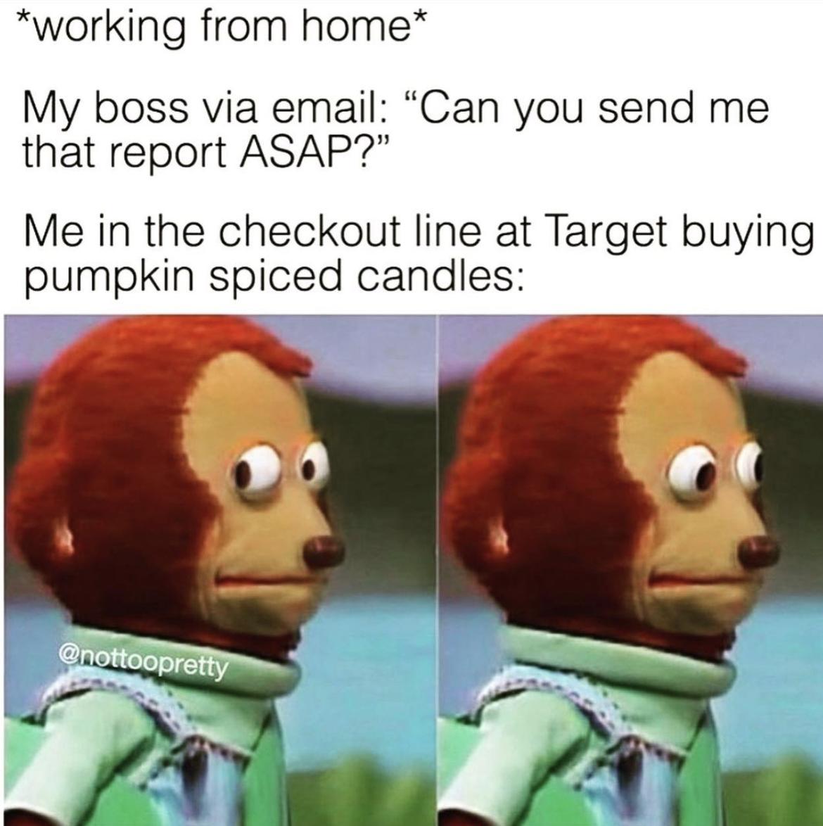 Shopping at Target while working meme