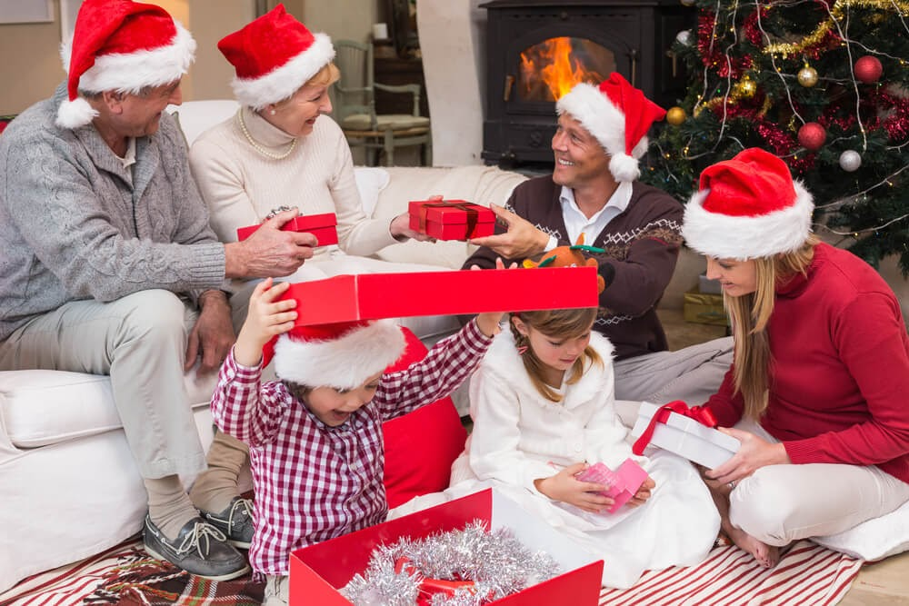 Family exchanging presents on Christmas