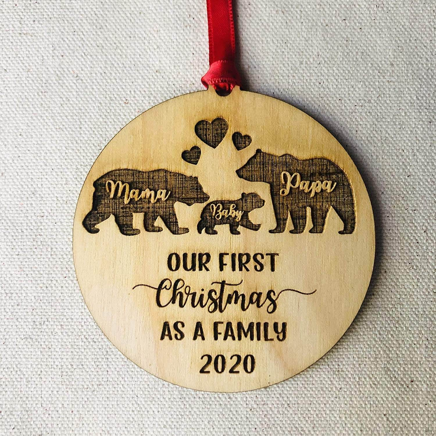 Baby's first Christmas wooden ornament