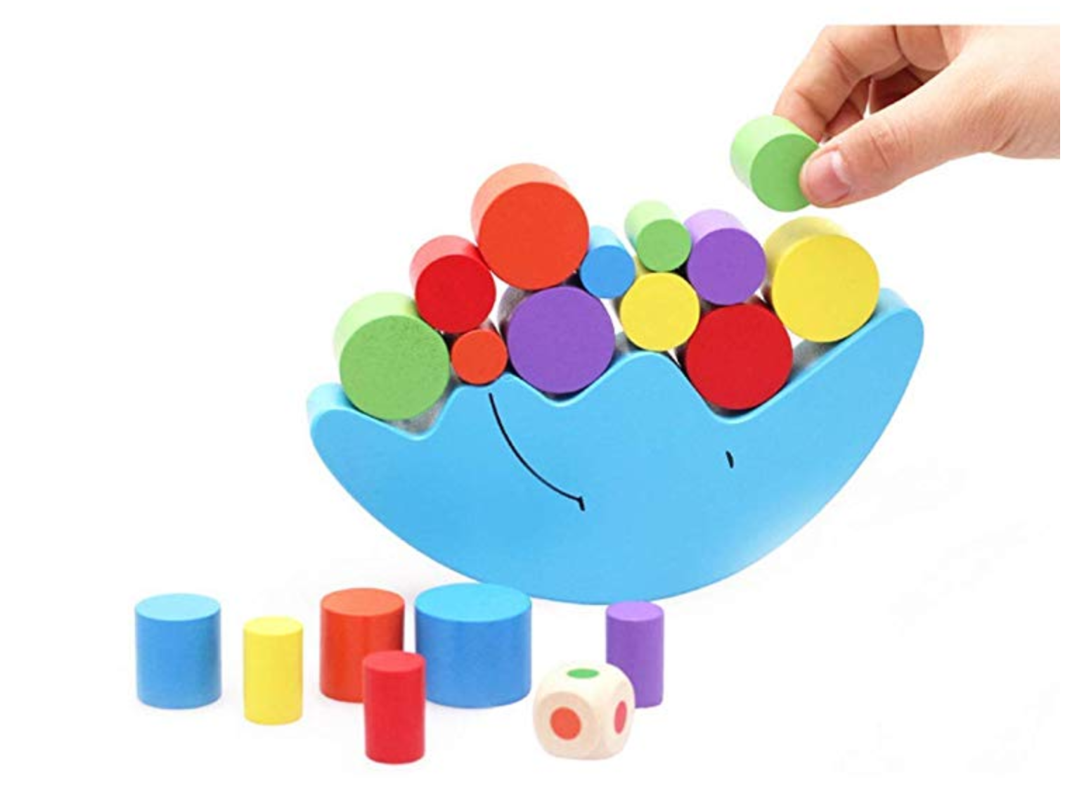 Wooden Toy Block Puzzle Moon Balance Game