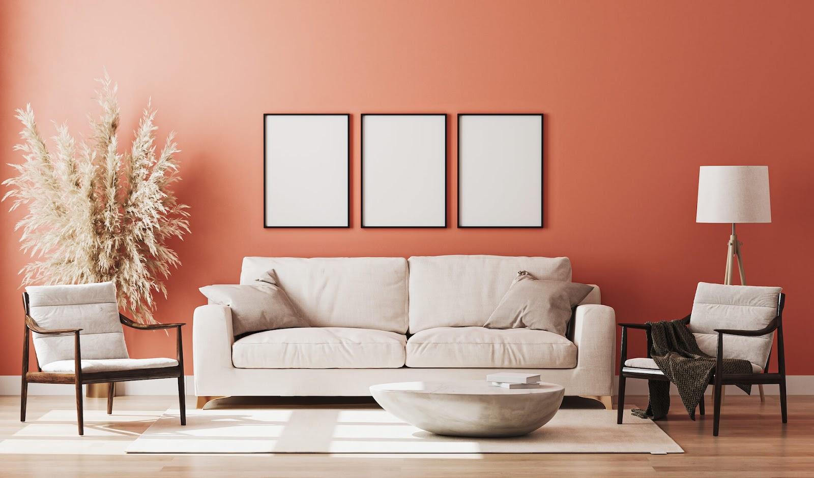 Room painted orange