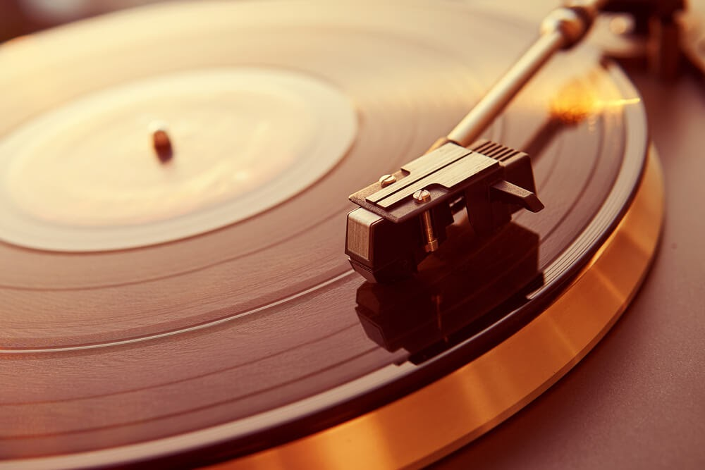 close-up of a turntable playing music