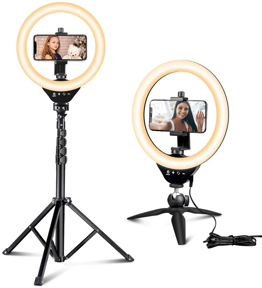 Ring Light with Extendable Tripod and Phone Holder