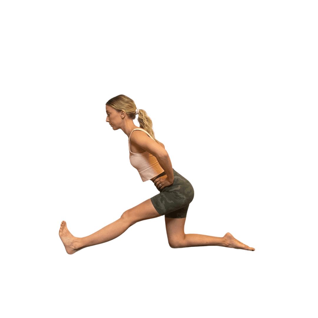Woman in extended half split glide