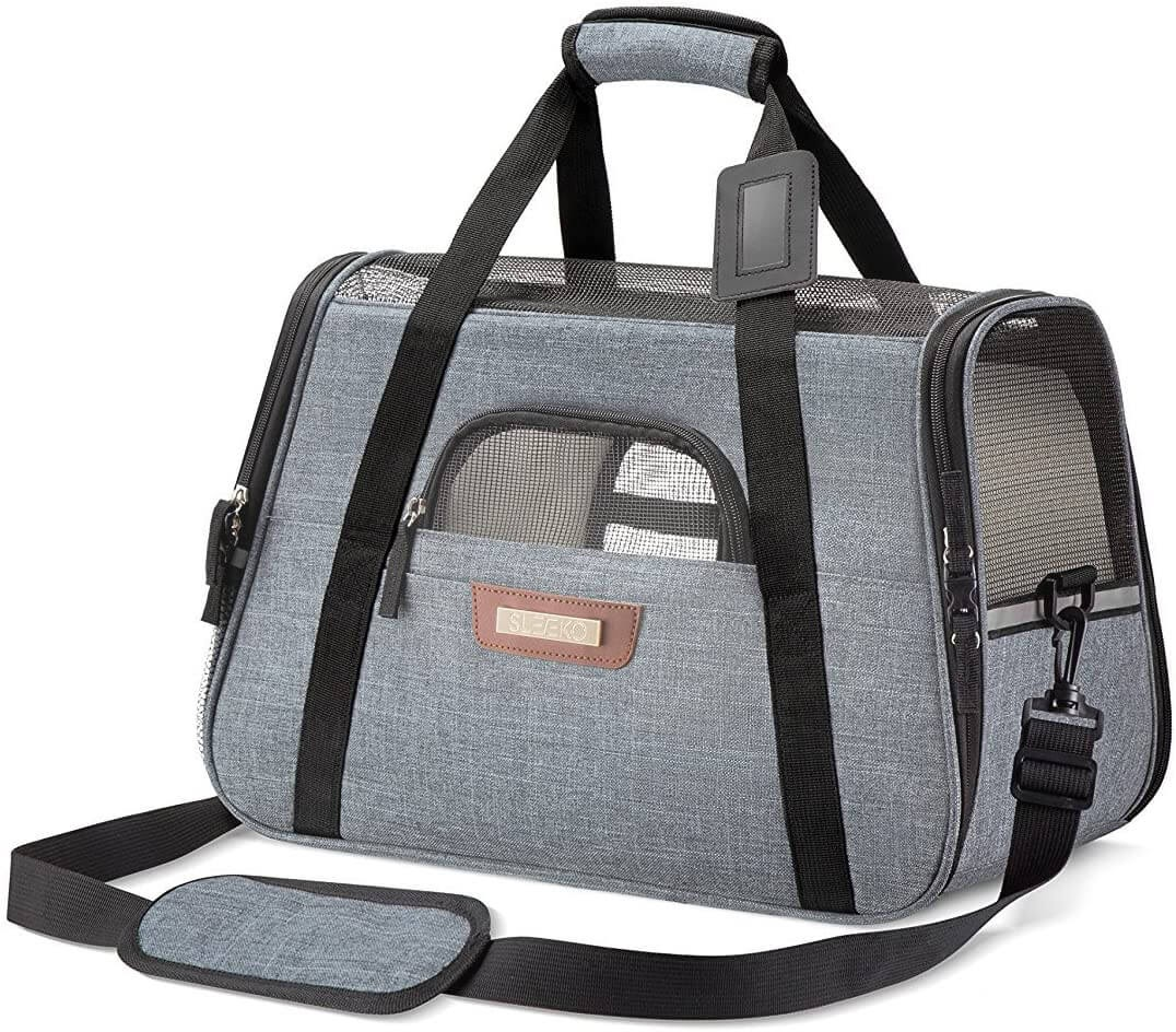SLEEKO Luxury Pet Carrier Airline Approved Premium Under Seat Compatibility for Dogs and Cats
