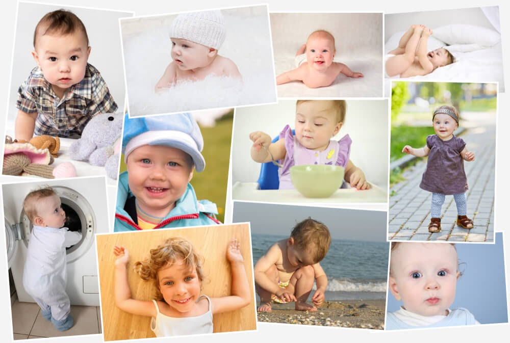 An assortment of baby pictures