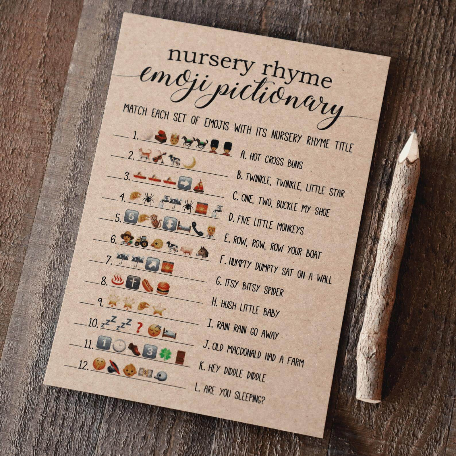 Nursery Rhyme Emoji Pictionary