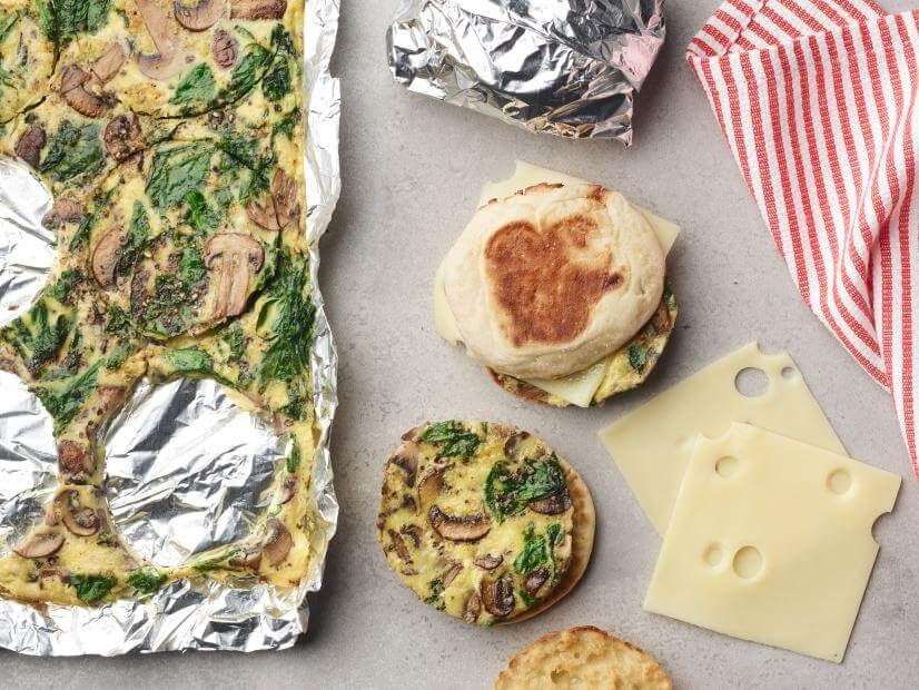 Spinach and Mushroom Breakfast Sandwiches