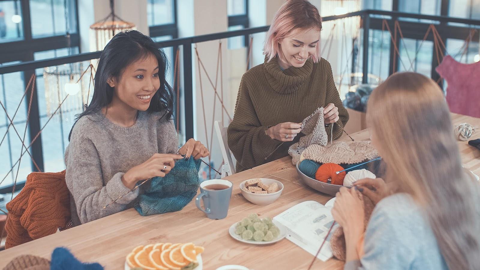 Group of girls knitting