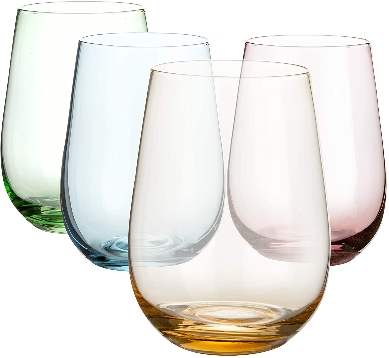 Stemless Colored Wine Glasses