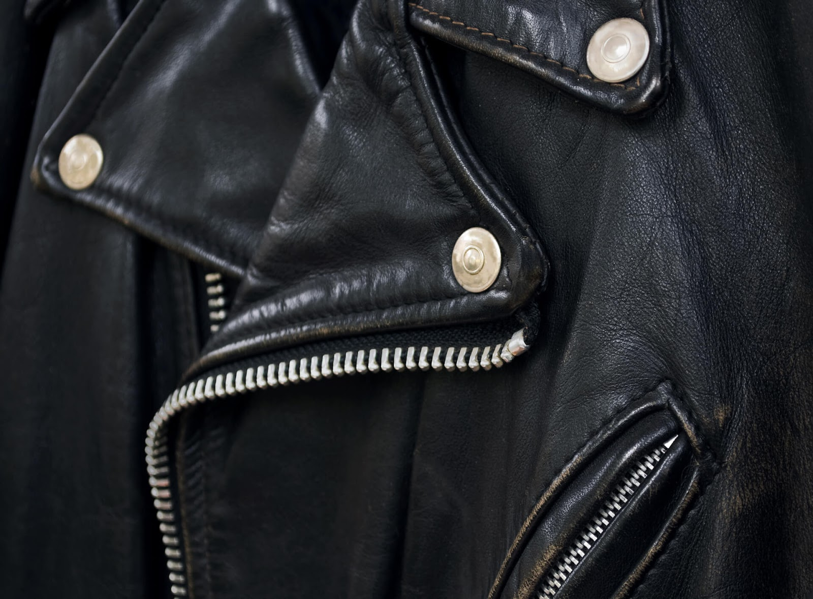 Close up of a leather jacket