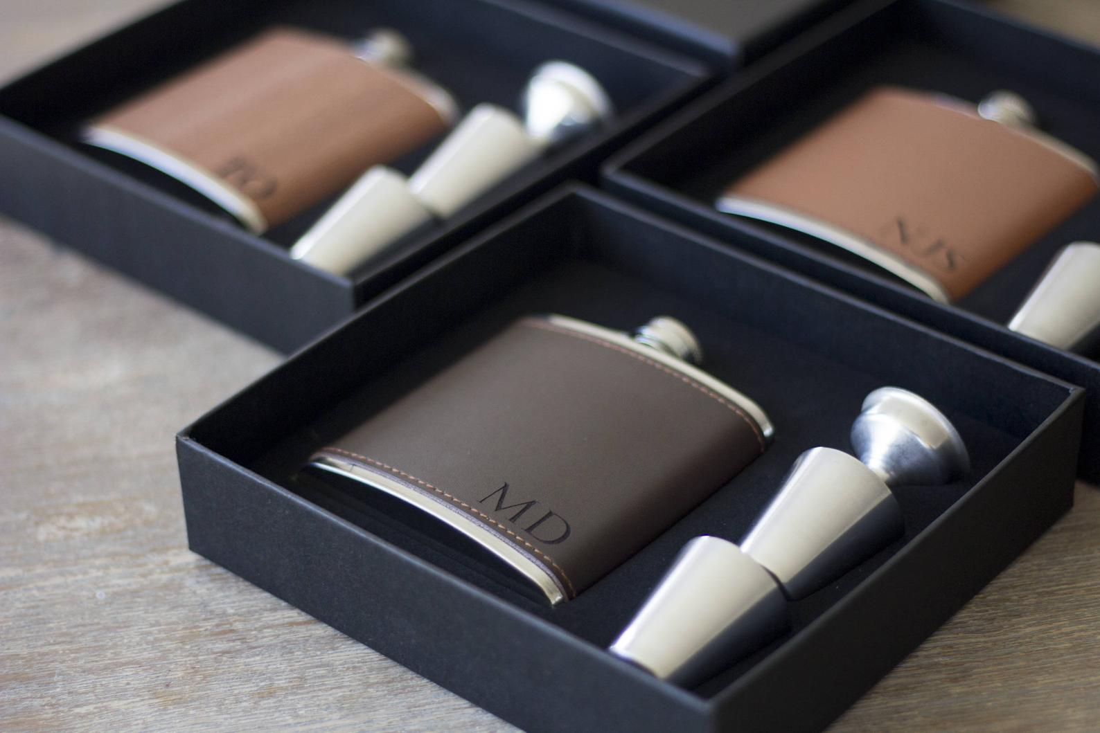 Leather Flask in Gift Box