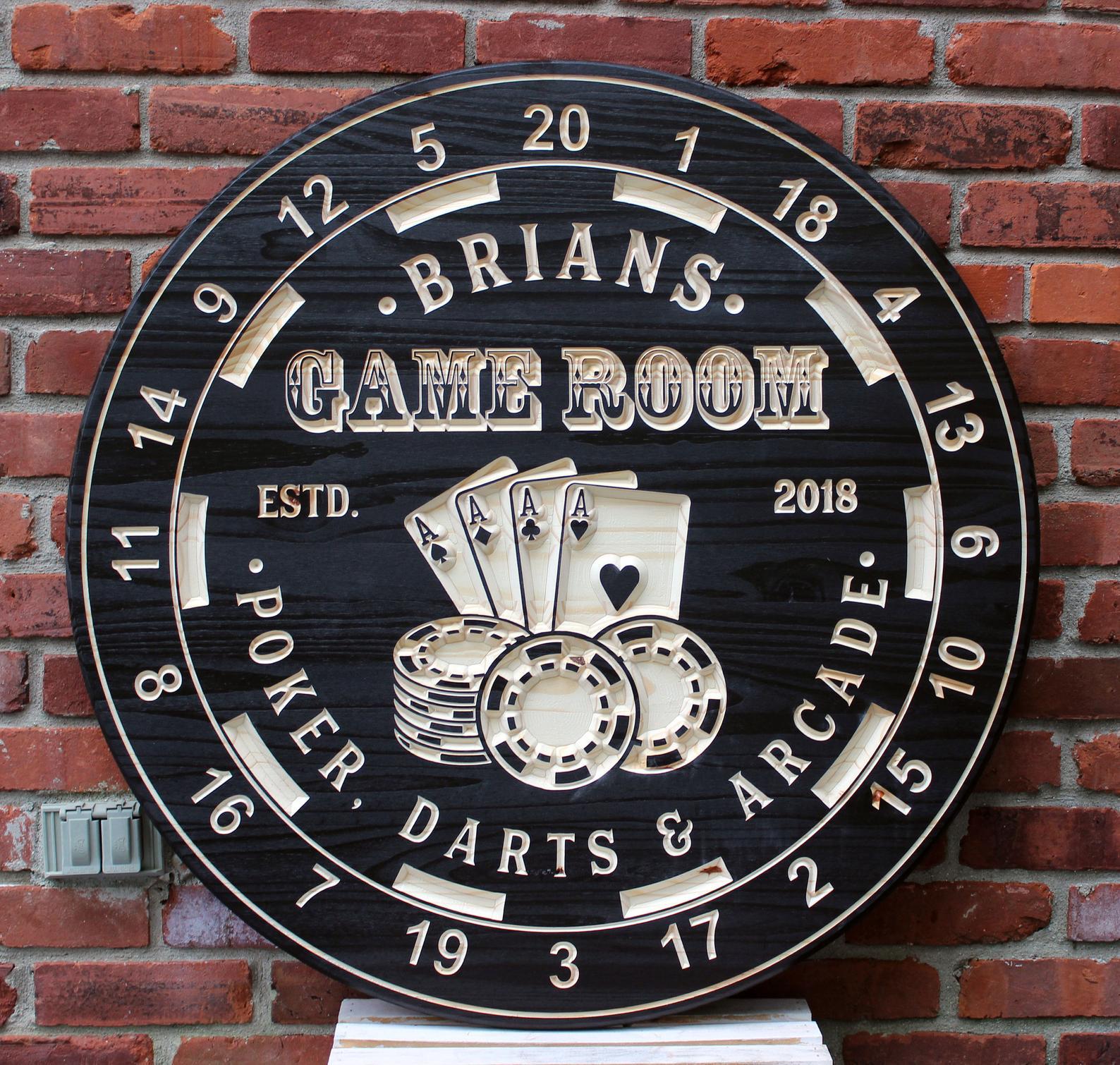 Custom Game Room Sign Dart Board
