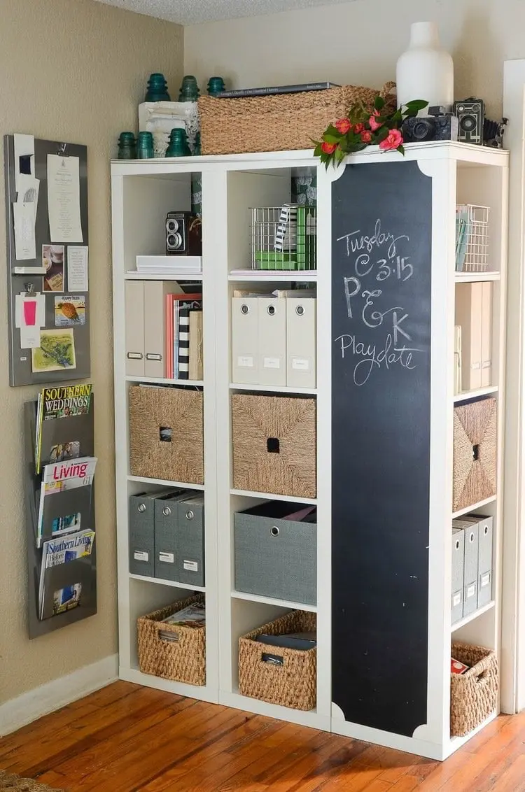 Kallax bookshelves turned into a kitchen command center and storage