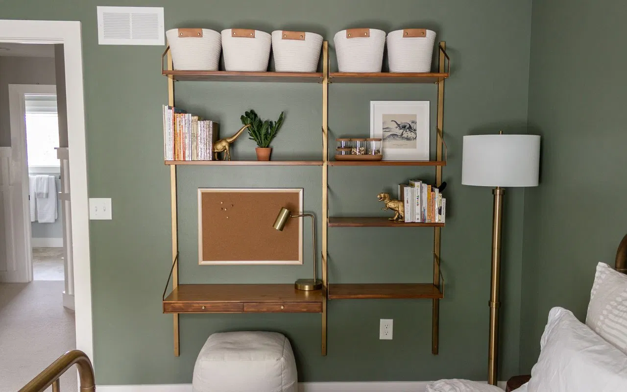 Galvanized bookshelves turned into a wall desk / command center