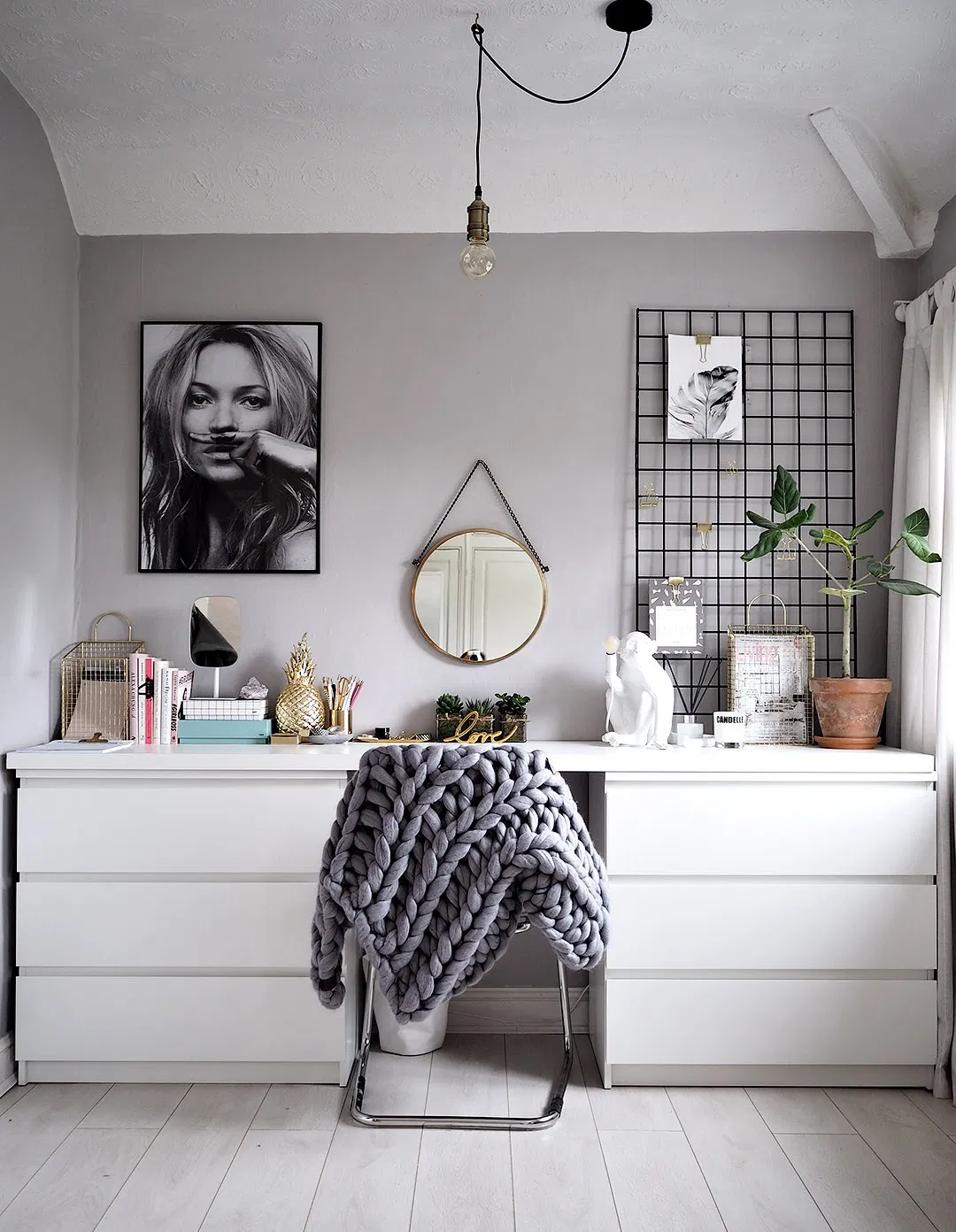 Ikea bookshelves turned into a long desk