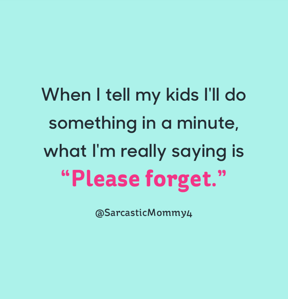 "When I tell my kids I'll do something in a minute, what I'm really saying is ""Please forget."""