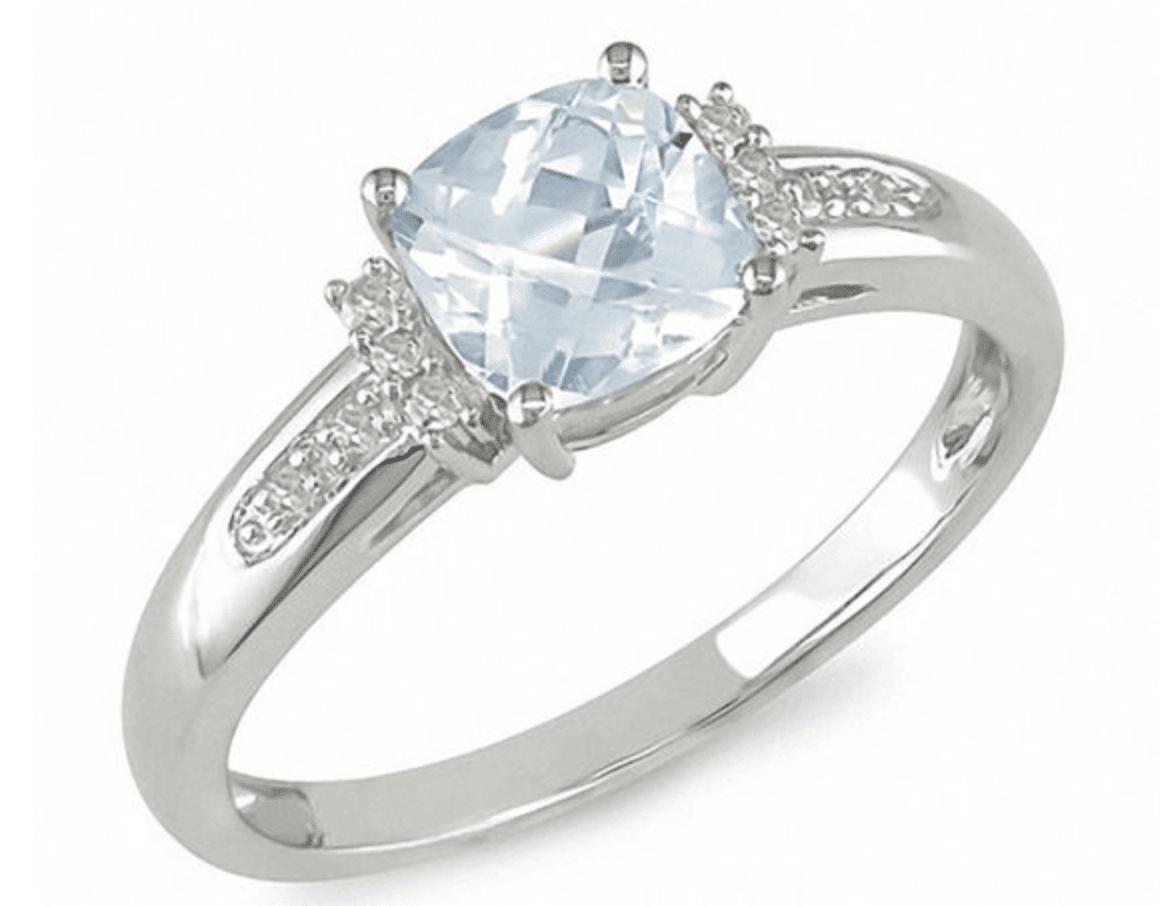 Cushion-Cut Aquamarine and Diamond ring