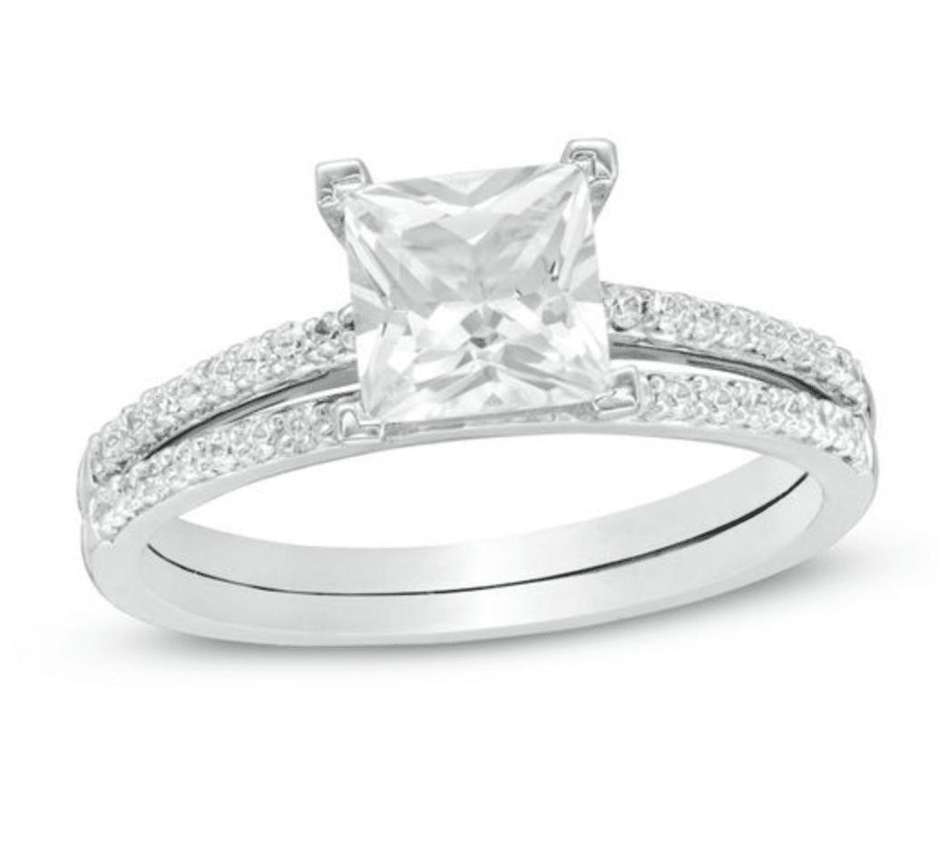 Princess-Cut Lab-Created White Sapphire Ring