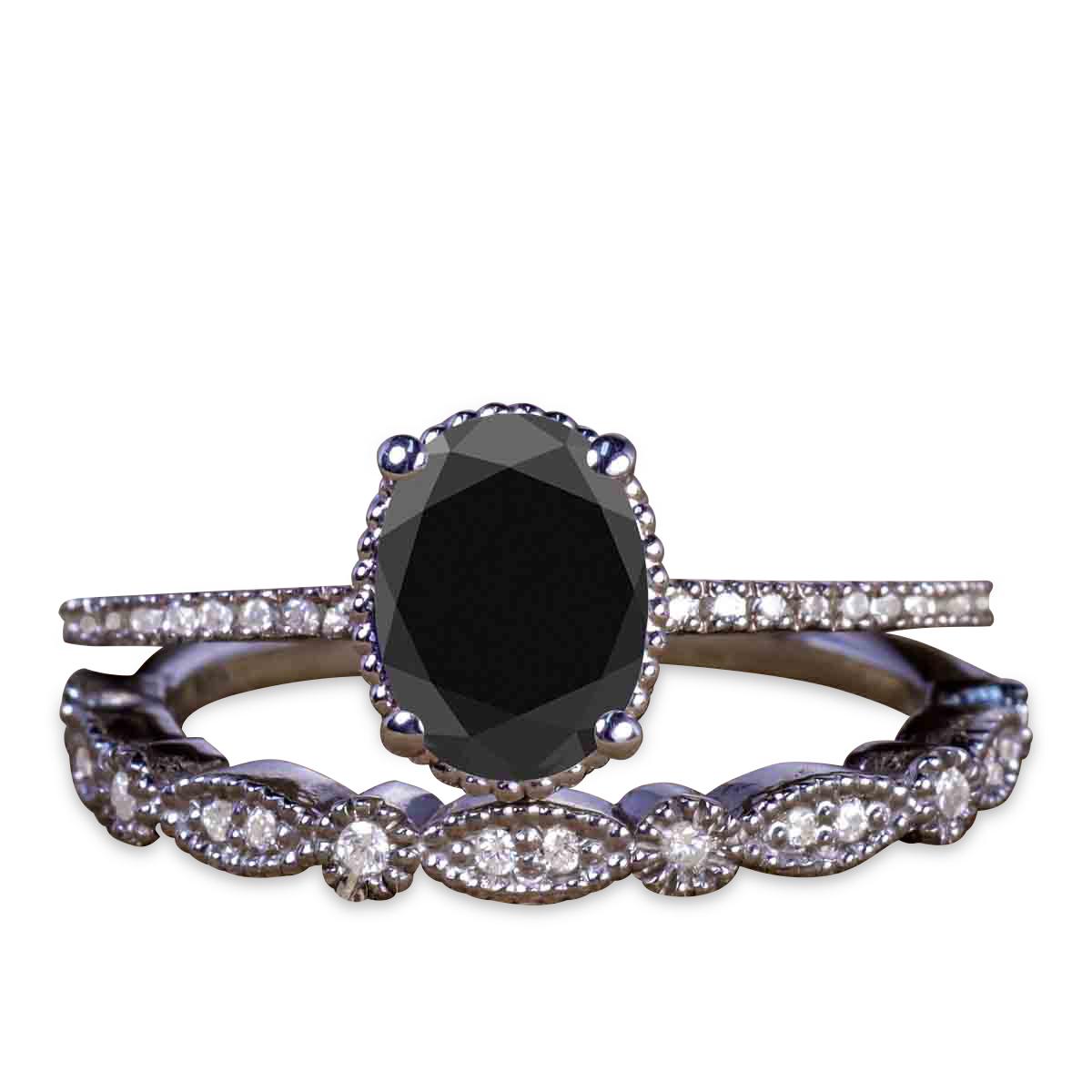 Oval Black Diamond Wedding Set