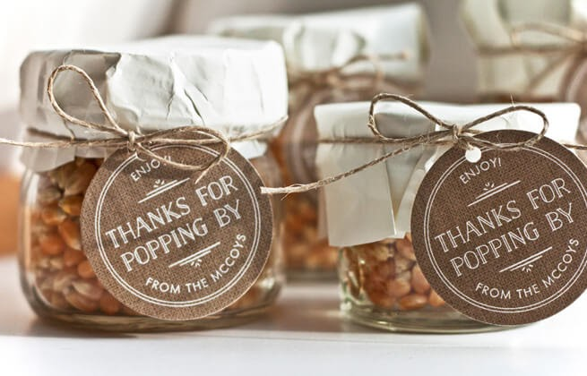 """Popcorn kernels in jars with """"thanks for popping by"""" gift tag"""