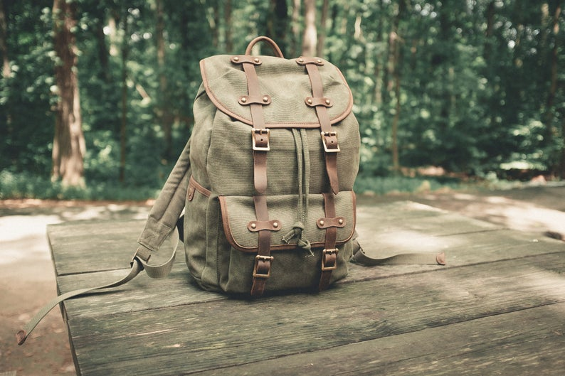 Handmade Canvas Travel Backpack