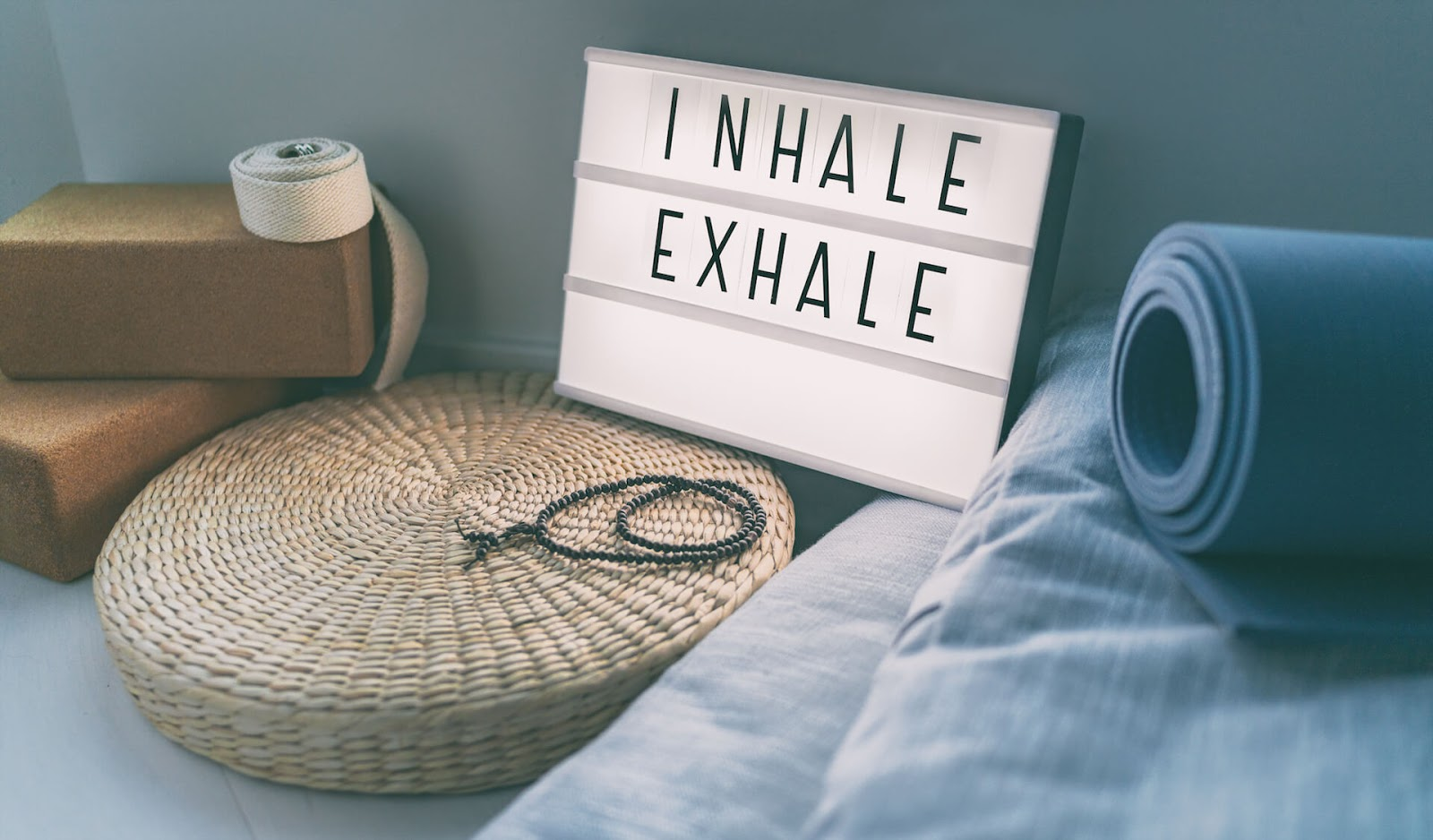 Inhale, Exhale sign at a yoga studio