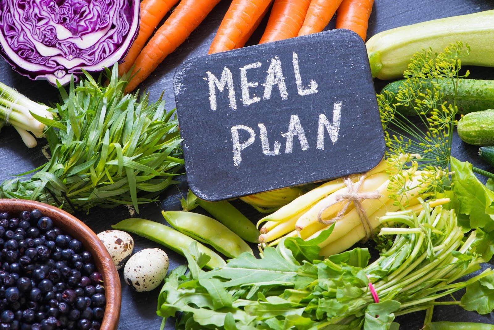 Meal plan sign on top of veggies