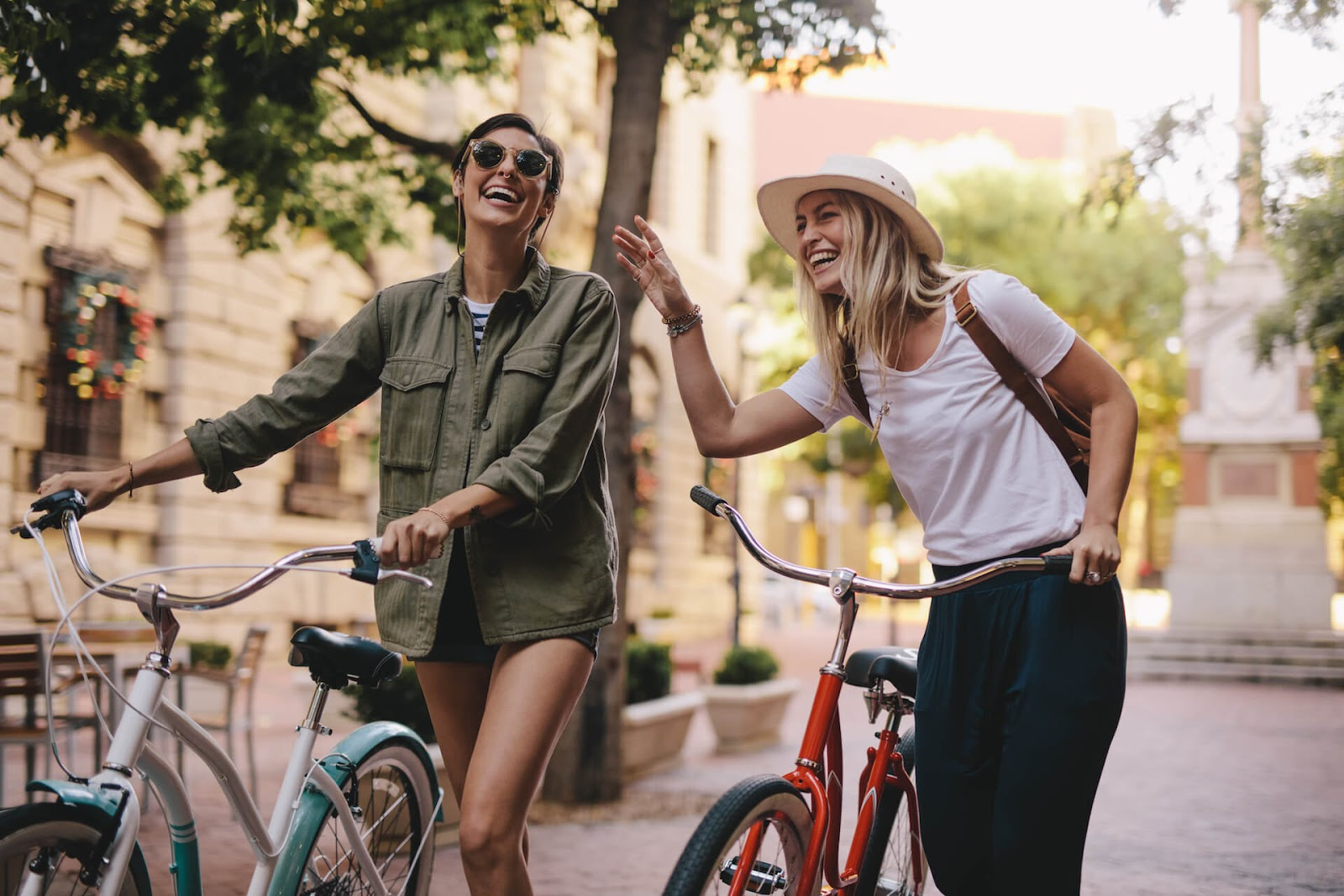 Ladies enjoying the town on their bikes