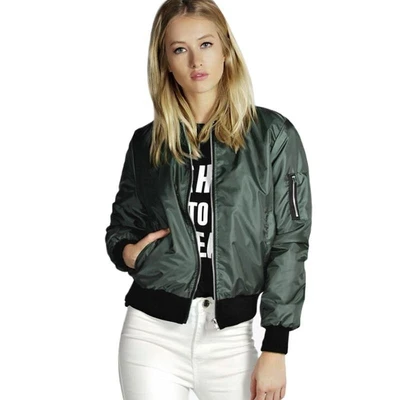 Women's green bomber jacket that will make any vegan look amazing