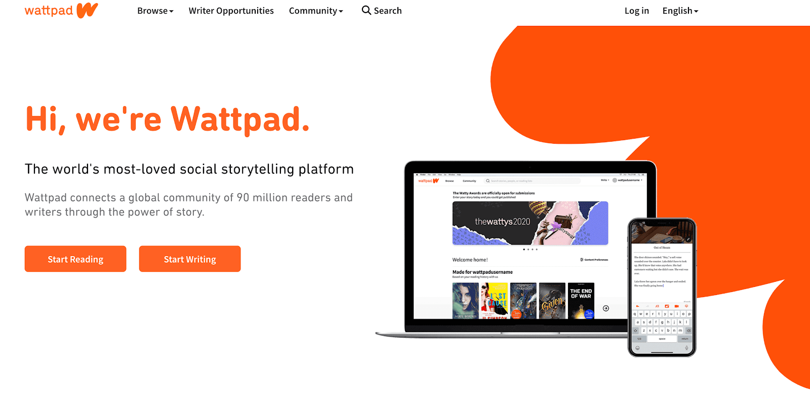 Screenshot of Wattpad's home screen