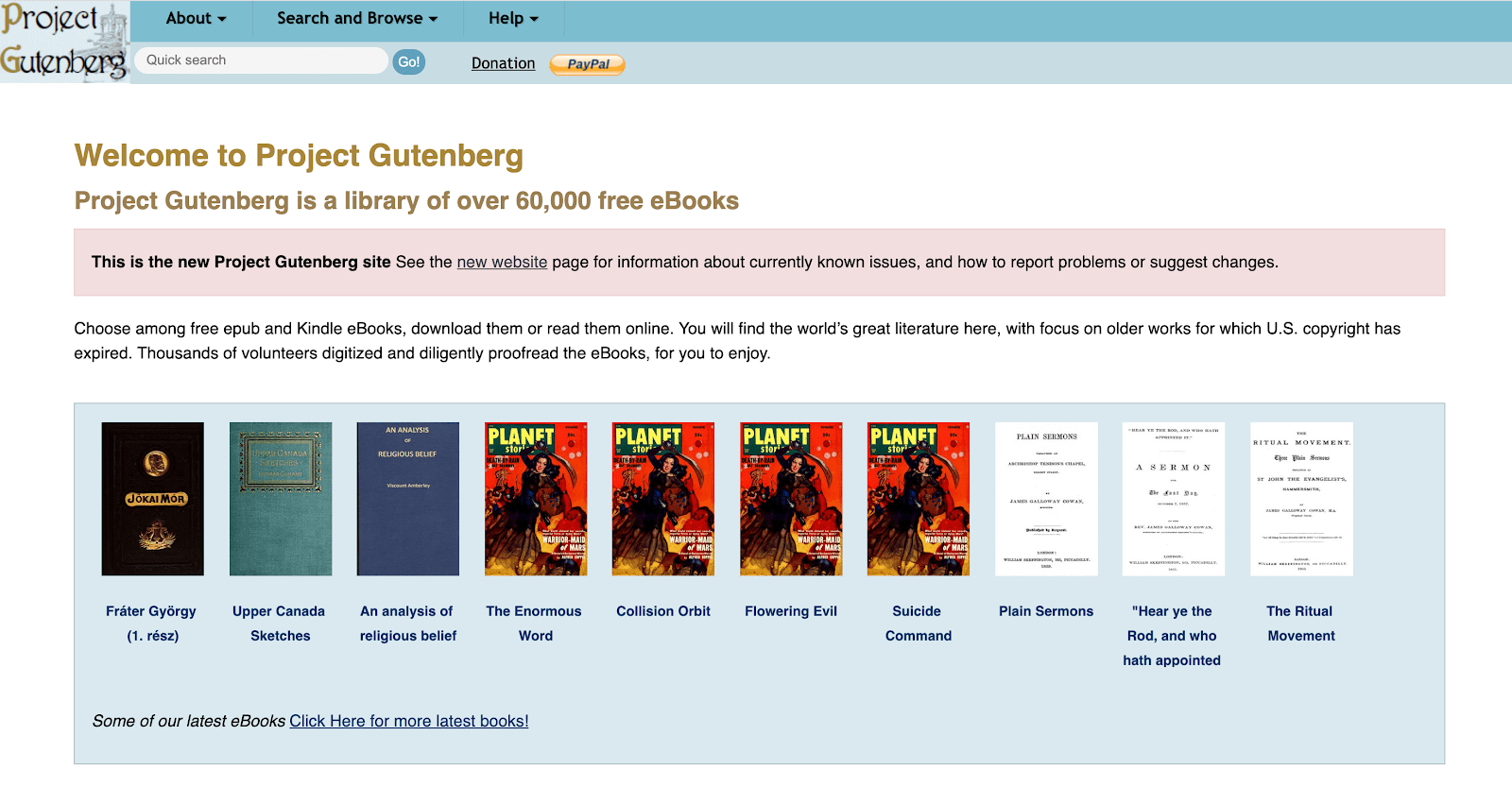 Project Gutenberg's home screen