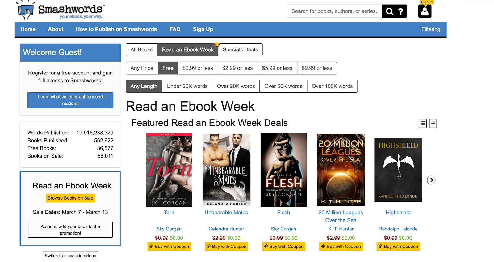 Smashwords free books page