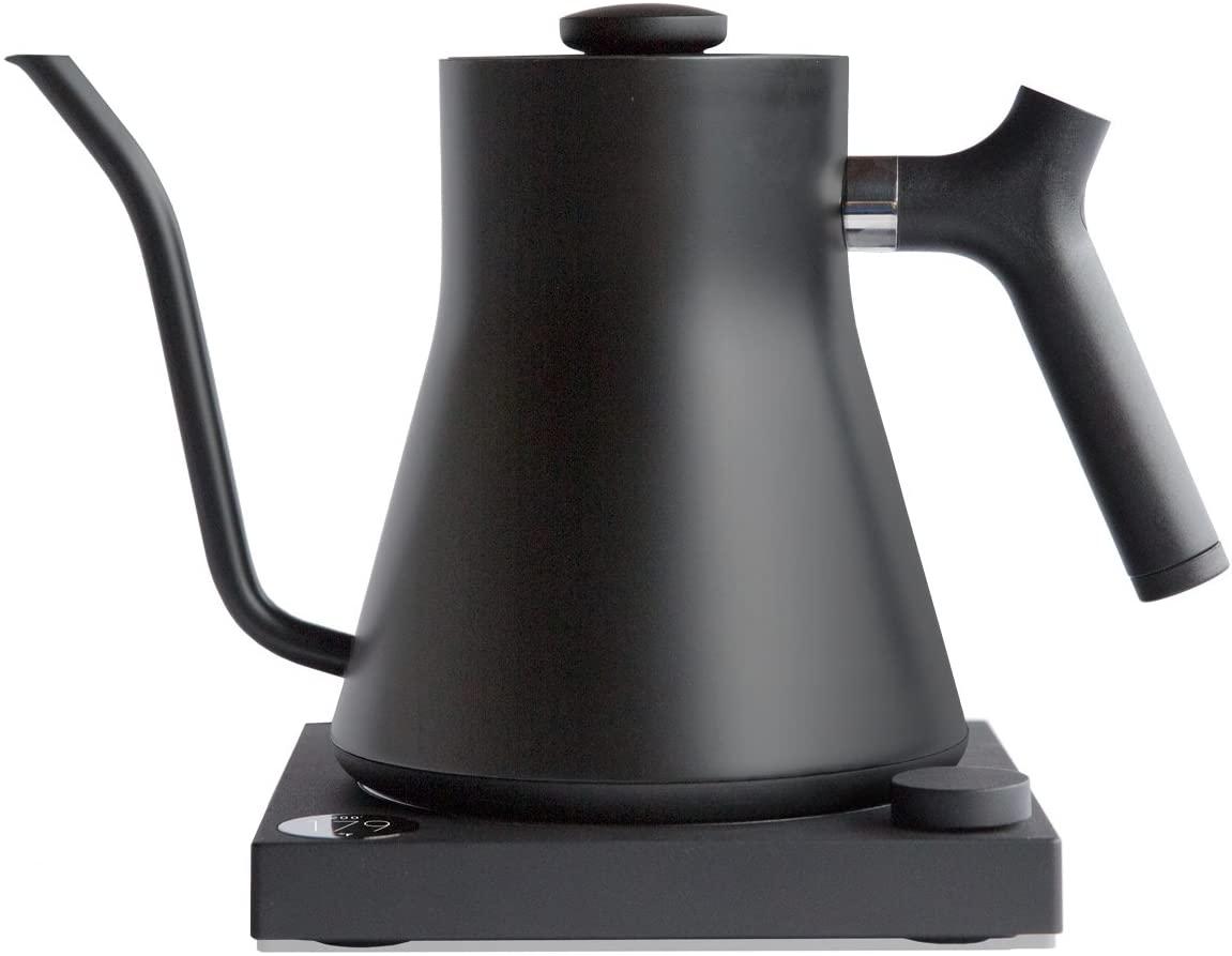 Sleek, black electric kettle