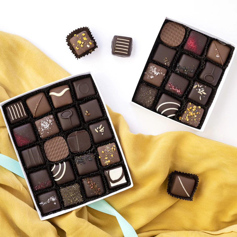 Beautiful boxes of chocolate from Theo Chocolate