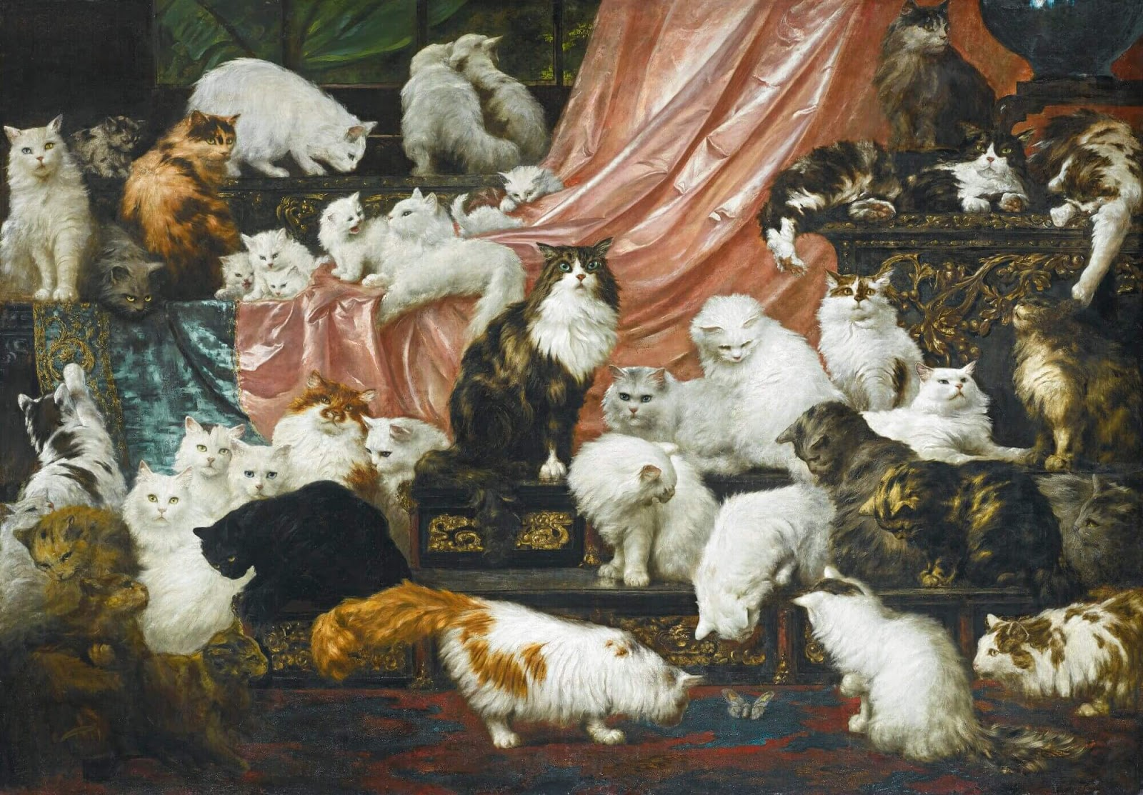 Photo of dozens of cats lounging in a regal setting