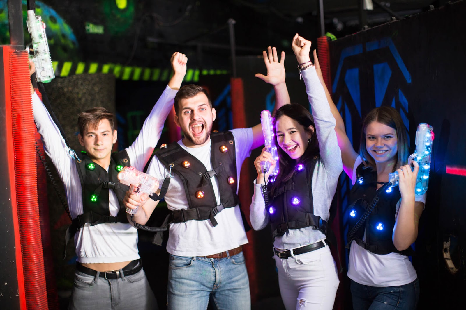 Group of friends playing laser tag