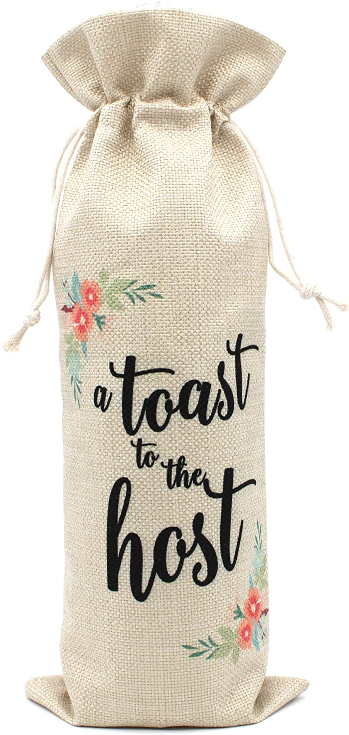 A toast to the host wine burlap wine bag