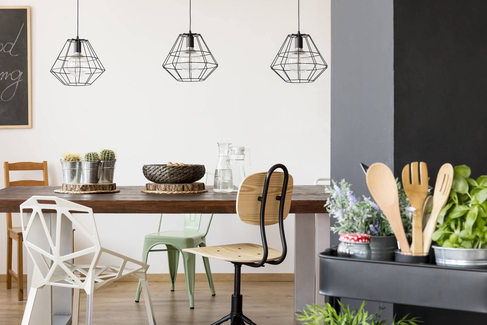 Industrial style pendant lights over a dining room table