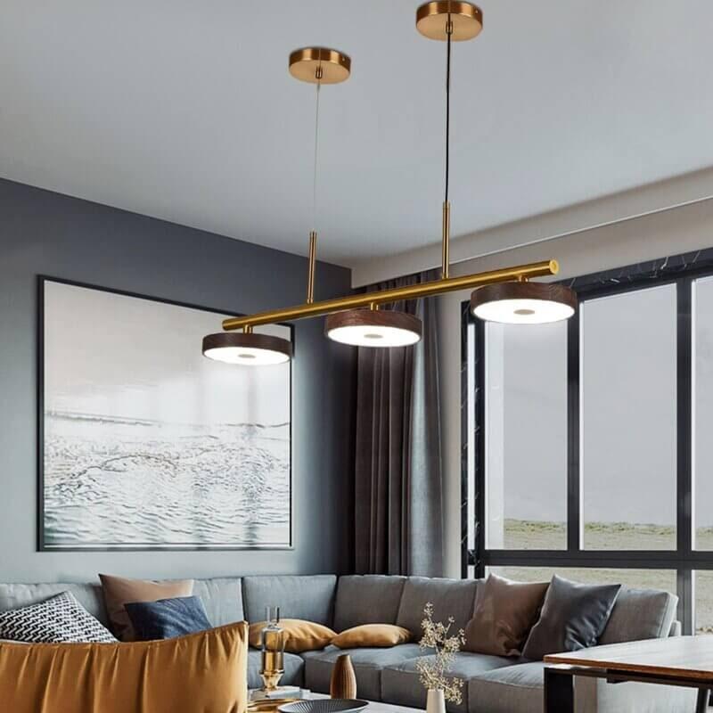 metal mid-century modern linear chandelier in living room