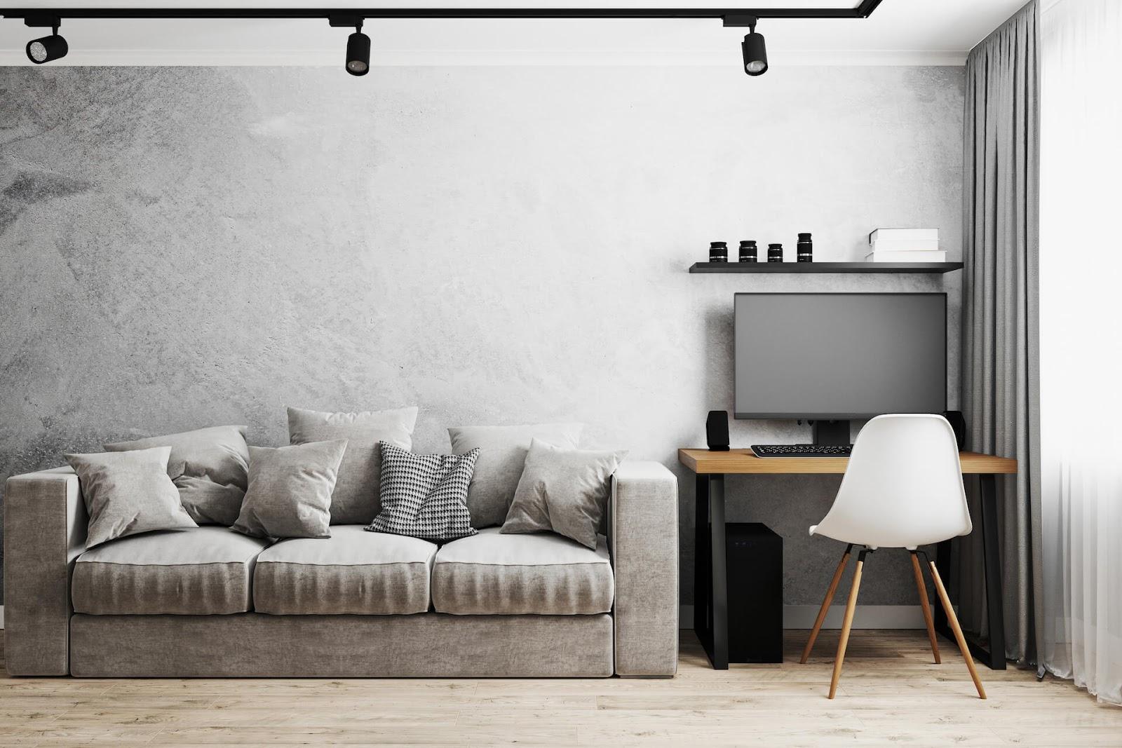 Track lighting in a mid century modern living room